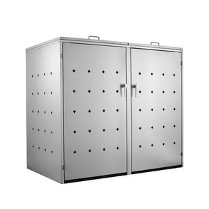 """Edelstahl Mülltonnenbox """"Rhombus"""" mit Klappdeckel für 2 Tonnen"""