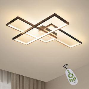 ZMH  LED Deckenleuchte Dimmbar Modern Deckenlampe Schwarz Wohnzimmerlampe 65W Geometrisch Wandlampe Multifunktional Deckenbeleuchtung
