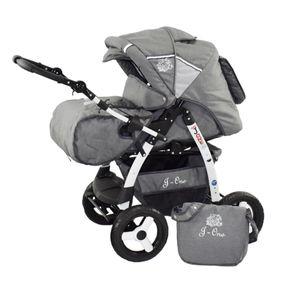Lux4Kids Kinderwagen 2 in 1 Kombi Set Buggy Megsaet J-One   Grau ohne Sonnenschirm ohne Winterfußsack