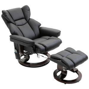 HOMCOM Massagesessel mit Fußhocker Relaxsessel Heizfunktion 145°-Neigung PolyurethanSchwarz 79 x 82 x 101 cm