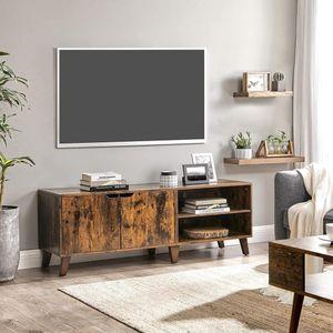 VASAGLE TV-Schrank Fernsehtisch mit 2 Türen 140 x 40 x 50 cm TV-Regal für Fernseher bis zu 60 Zoll Fernsehschrank vintagebraun LTV027X01
