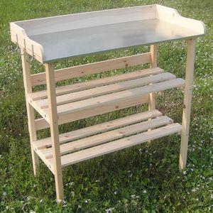 Holz Pfanztisch Holztisch Gartentisch Gärtnertisch Tisch Gewächshaus Garten