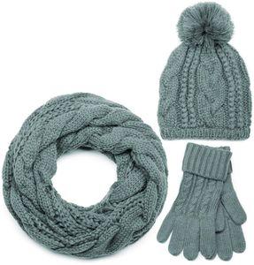 styleBREAKER Schal, Mütze und Handschuh Set, Zopfmuster Strickschal mit Bommelmütze und Handschuhe, Damen 01018208, Farbe:Grau / Loop Schlauchschal