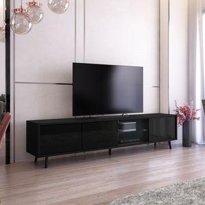 Selsey TV-Lowboard Galhad Schwarz Matt/ Schwarz Hochglanz mit weißer LED-Beleuchtung 175 cm breit