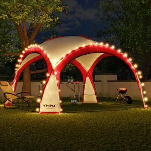 LED Event Pavillon 3,6 x 3,6m DomeShelter Garten Pavillion inkl. Solarmodul Pavilion Designer Gartenzelt Camping Pavilon Partyzelt mit Beleuchtung - rot