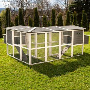 MyAnimal Hühnerstall XXL für 8 Hühner MH-13, L-Form, 2 Hühnerhäuser mit großem Auslauf, 2 Nistkästen (Grau)