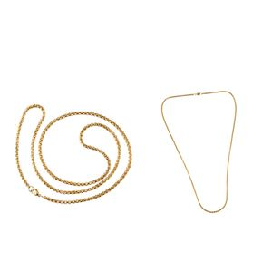 2x Quadratische Rolo-Kette Box-Link-Goldkette Kastenkette mit Karabinerverschluss