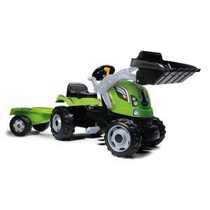 Smoby Kindertraktor mit Anhänger Farmer Max Grün und Schwarz