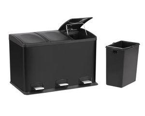 3fach Edelstahl Mülleimer 36l Küche Schwarz Matt | Abfalleimer Mülltrennung | Trenn Abfallsammler Müllsammler | Müllbehälter Mülltrenner
