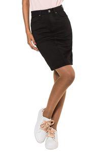 Damen Rock Jeans Optik Knielang Stretch Midi Skirt Schlitz, Farben:Schwarz, Größe:38