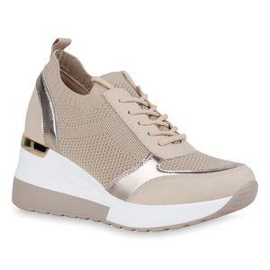 Giralin Damen Sneaker Keilabsatz Schnürer Profil-Sohle Schuhe 836552, Farbe: Beige Gold Metallic, Größe: 39