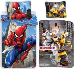 Transformers & Spiderman - 2 x Bettwäsche-Set mit Wendemotiv, 135x200 & 80x80