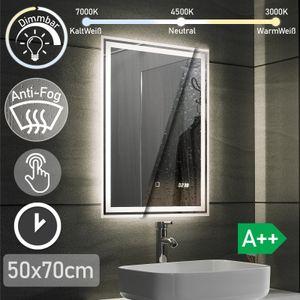 Aquamarin® LED Badspiegel - 50x70 cm, Beschlagfrei, Dimmbar, 3 Lichtfarben 3000-7000K, Kaltweiß Neutral Warmweiß, energiesparend, Digitaluhr mit Datum - Badezimmerspiegel, Lichtspiegel, LED Spiegel