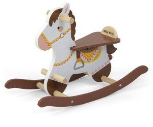 Holz Schaukelpferd LUCY 2 in Braun Weiß für Kinder ab 18 Monaten