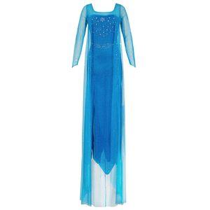 Damen Kostüm Prinzessin Elsa Kleid Erwachsene 'Frozen Die Eiskönigin' - Dehnbares Partykleid aus Glitzerstoff, Rücken-Ausschnitt - blau, M