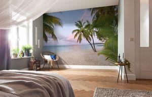 "Komar Vlies Fototapete ""Paradise Morning"", blau/beige, 368 x 248 cm"