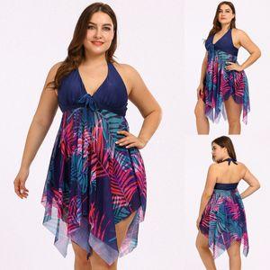 Women  Leaf Print Push Up Tankini Set Two Piece Swimsuit Plus Size Swimwear Größe:5XL,Farbe:Blau
