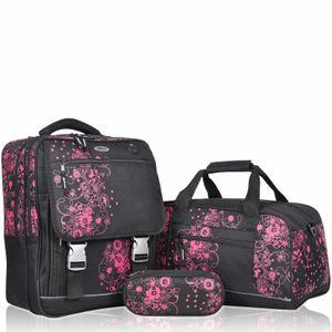 Schulranzen KEANU Valencia Flowers 3er Set Sporttasche Etui Box Schwarz Pink