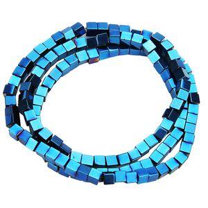 1 Strang Hämatit Square Lose Perlen für Armbänder Halskette blau 3mm