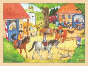 Puzzle aus Holz Einlegepuzzle Reiterhof von goki 96 Teile