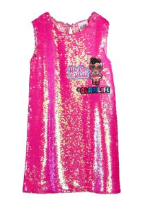 L.O.L. Surprise! Kinder Mädchen Sommer-Kleid ärmellos Abendkleid Pailletten Kleid, Größe:158-164