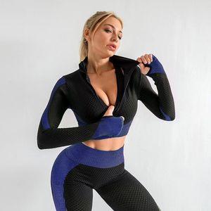 lixada Trainingsanz uege Frauen Full Zip Crop Jacke Sport Langarm Handschuh Workout Running Exercise Gym Track Jacken Sweatshirt Slim Casual Tops Activewear,Royal Blue,Groesse:S