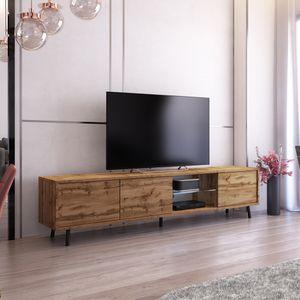 Selsey TV-Lowboard Galhad Wotan Eiche Matt mit weißer LED-Beleuchtung 175 cm breit
