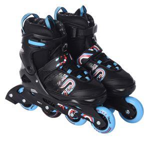 Inliner Skate Soft-Boot Kinder Jugend Damen Größenverstellung 5 Größen verstellbar unisex blau - rot, Größe:29-33