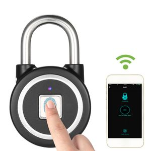 BT Fingerprint Smart Keyless Lock Wasserdichtes APP / Fingerprint Entsperren Diebstahlsicheres Vorhaengeschloss Tuer Gepaeck Kofferschloss fuer Android iOS System