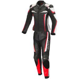Büse Mille 2-Teiler Damen Motorrad Lederkombi Farbe: Schwarz/Rot, Grösse: 38
