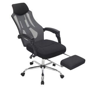 SONGMICS Bürostuhl, Schreibtischstuhl ergonomischer Computerstuhl mit Kopf- und Fußstütze bis 120 kg belastbar, schwarz-dunkelgrau OBN056B01