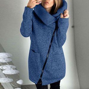 Lässige Kapuze Jacke Mantel Damen langen Reißverschluss Sweatshirt Outwear Tops ZXX201029172 Größe:M,Farbe:Blau