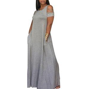 Damen Plus Size Casual Langes Kleid Kurzarm Kaltschulter Maxikleid,Grau, 5XL