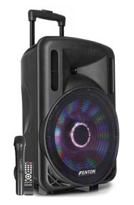 "Fenton FT12LED Aktiv-Lautsprecher 12"" 700W , Bluetooth /USB  / SD / AUX , Akku  , Trolley , Integrierte LED-Lichtshow im Woofer"