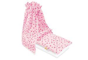 Puppenbettzeug für Puppenwiegen mit Himmel 'Herzchen', rosa, 4-tlg.