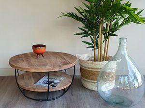 DESIGN Couchtisch massiv Mangoholz Metall Evan schwarz rund Beistelltisch 85 cm x 44 cm