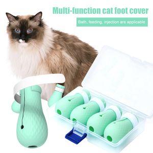Anti-Kratz Katze Schuhe 4PCS / Set Pflegetasche Pet Paw Protector zum Baden