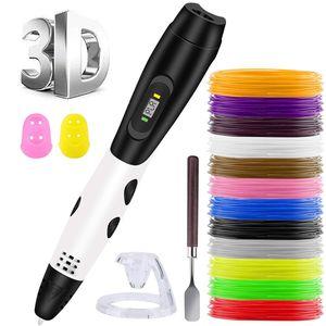 3D Pen + PLA Fliament Set,3D Stifte mit LCD-Bildschirm + 12 Farben Φ1,75 mm 3d Filament - insgesamt 120 ft, DIY Geschenk für Kinder Anfänger Erwachsene, kompatibel mit 1,75 mm ABS/PLA