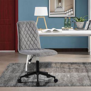 Bürostuhl Schreibtischstuhl Ergonomischer Büro Stuhl Samt ohne Armlehne 113kg tragen Bürodrehstuhl Stuhl drehbar für Büro Heimbüro Zuhause Grau