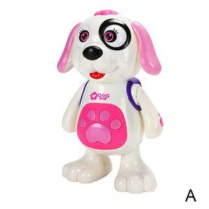 Englische Verpackung Pink (A) $ elektrischer Spielzeughund Tanzmusik Lichter Vibrato Kinder Roboter-Hund zu Fuß