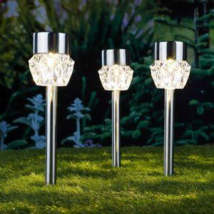 HI Solar LED Garten-Wegeleuchten 3 Stk. Kristall