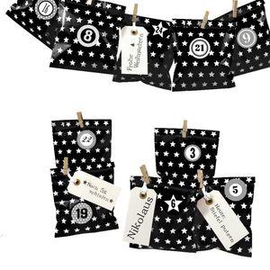 DIY Adventskalender zum Befüllen Bescherung, Papiertueten flach 13x16,5cm, schwarz Stern, Ziffern grau