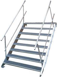 Stahltreppe 8 Stufen-Breite 100cm Variable-Höhe 120-160cm beidseit. Geländer