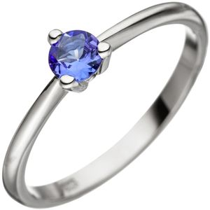 Solitär Ring Damenring mit Tansanit blau 585 Gold Weißgold Tansanitring, Ringgröße:Innenumfang 58mm  Ø18.5mm