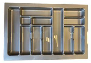 Besteckeinsatz Schubladeneinsatz Besteckkasten in grau für Schubkasten 80 cm