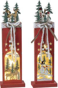 Weihnachts-Relief Schneemänner und Hirsche mit LED-Beleuchtung für Batteriebetrieb mit Timer, 2fach sortiert BxHxT 11x6x38cm NEU