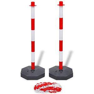 6 Stück Flexible Absperrpfosten mit 10 Meter Absperrkette