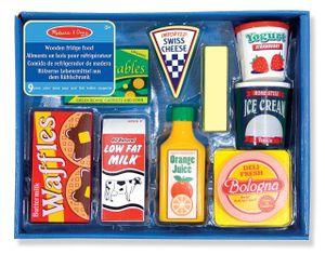 Melissa & Doug Wooden Fridge Food Set - Butter, Cheese, Waffles, Milk