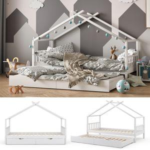 VITALISPA Kinderbett DESIGN Hausbett Gästebett Lattenrost weiß 90x200 Schublade
