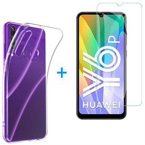 Huawei Y6P 2020 Panzerglas Schutz Folie Hart-Glas + Schutzhülle Transparent Silikon Case Full-Cover Full Screen